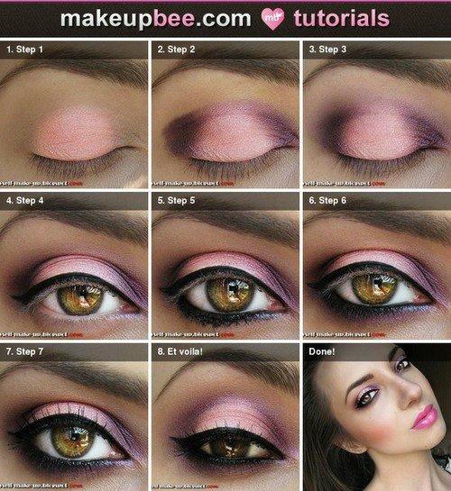 tuto maquillage rose et noir